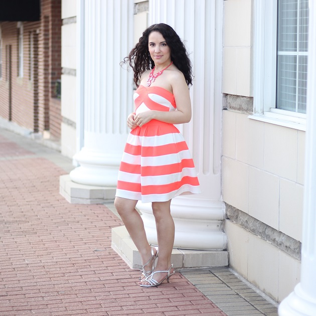 Orange and White Striped Dress