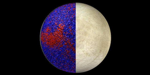This rendering shows isosurfaces of warmer (red) and cooler (blue) temperatures in a simulation of Europa's global ocean dynamics. More heat is delivered to the ice shell near the equator where convection is more vigorous, consistent with the distribution of chaos terrains on Europa. Credit: Model image created by J. Wicht with the image of Europa taken from NASA/JPL/University of Arizona