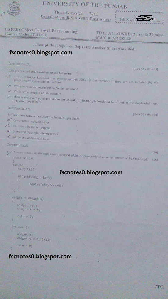 BS (Hons) IT Information Technology Past Papers Semester 3 Object Oriented Programming 2012 Asad Hussain