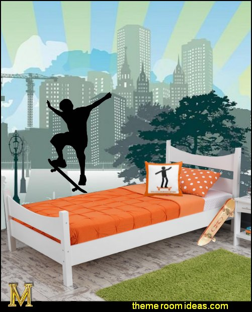 skater bedroom decor urban style skateboarder theme bedroom Urban theme bedroom ideas - urban bedrooms - Urban skater theme - Urban style decorating skateboarding theme - Urban bedding -  graffiti themed skater park - city living urban chic decorating ideas - city theme bedrooms - New York City bedding - city decor