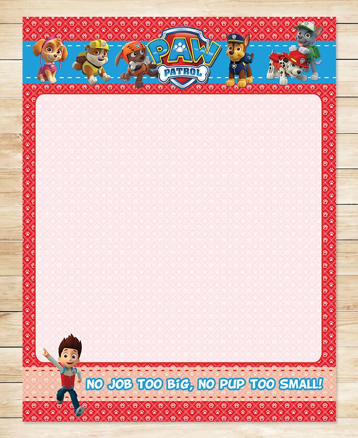 Free Printable Paw Patrol Birthday Stationery | Red BG Theme ~ Free Paw  Patrol Printables