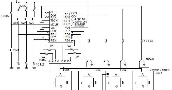 diagram ingram: Digital Clock Using with PIC16C54