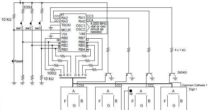 diagram ingram: Digital Clock Using with PIC16C54