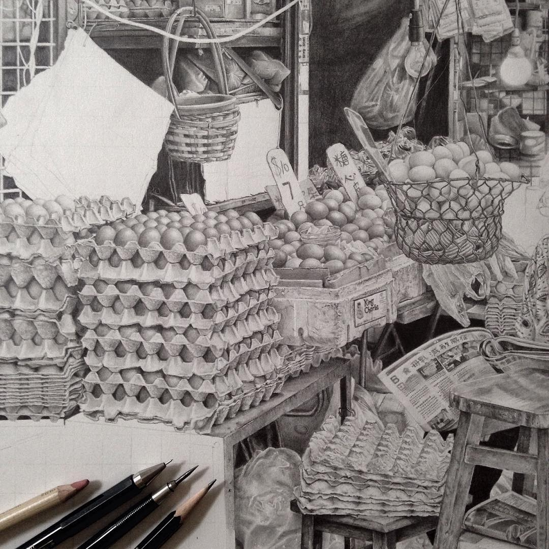 08-At-the-Market-wip-Monica-Lee-zephyrxavier-Eclectic-Mixture-of-Pencil-Wild-Life-and-Portrait-Drawings-www-designstack-co