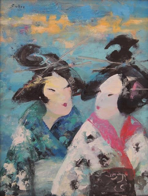 Francesc Suñer pintura retrato expresionista óleo dos geishas
