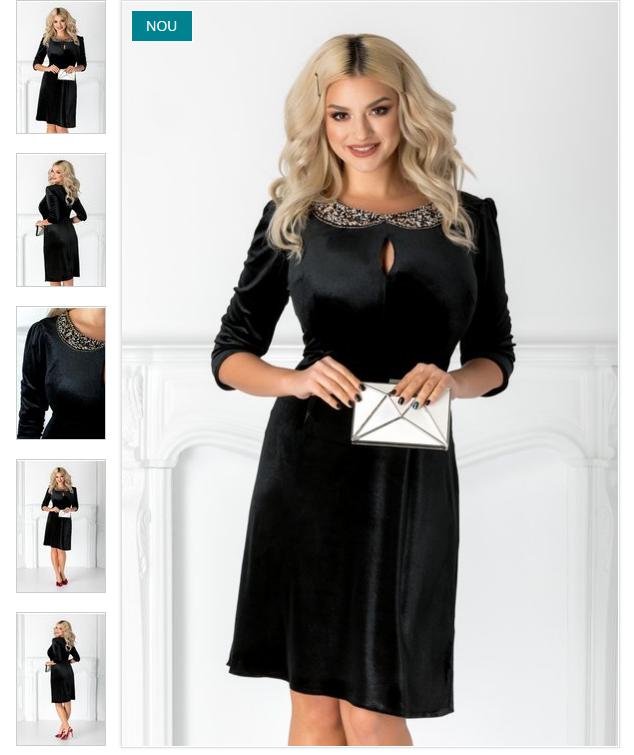 rochie neagra eleganta  maneci trei sferturi  pliuri la umeri