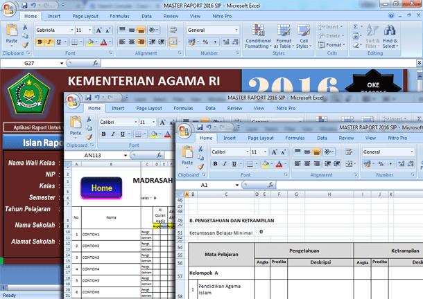 Aplikasi Raport MTs Kurikulum 2013 Format Microsoft Excel