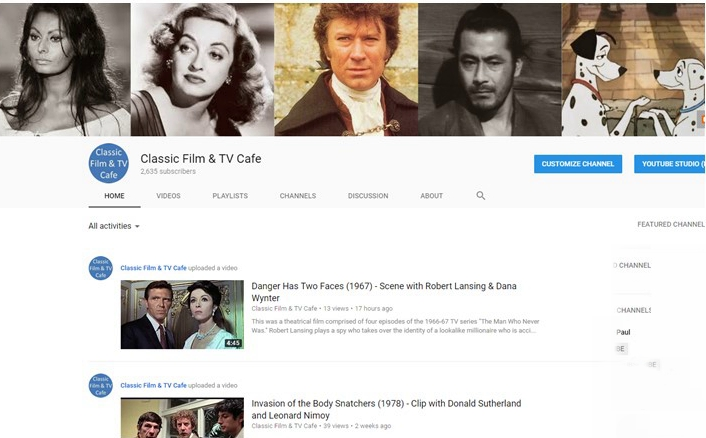 Classic Film and TV Café: Our YouTube Channel Reaches a