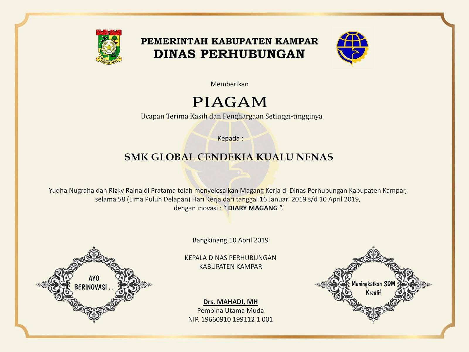 Contoh Sertifikat Praktek Kerja Industri Prakerin Terbaru