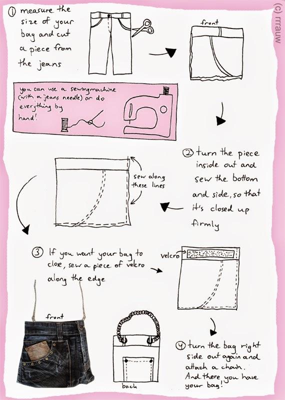 passo a passo como cortar calça jeans para fazer uma bolsa