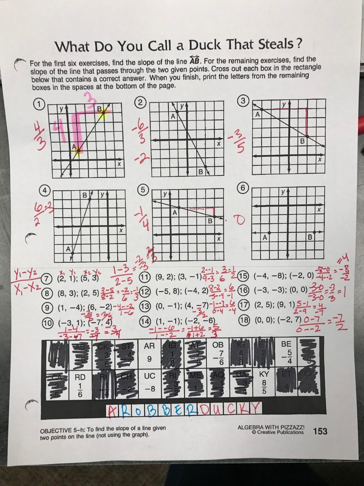 Scojo262 Worksheet Algebra With Pizzazz Answer Key Page 153
