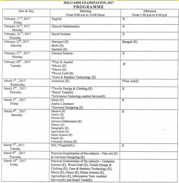 Assam ( SEBA ) HSLC / AHM / 10th Routine 2017