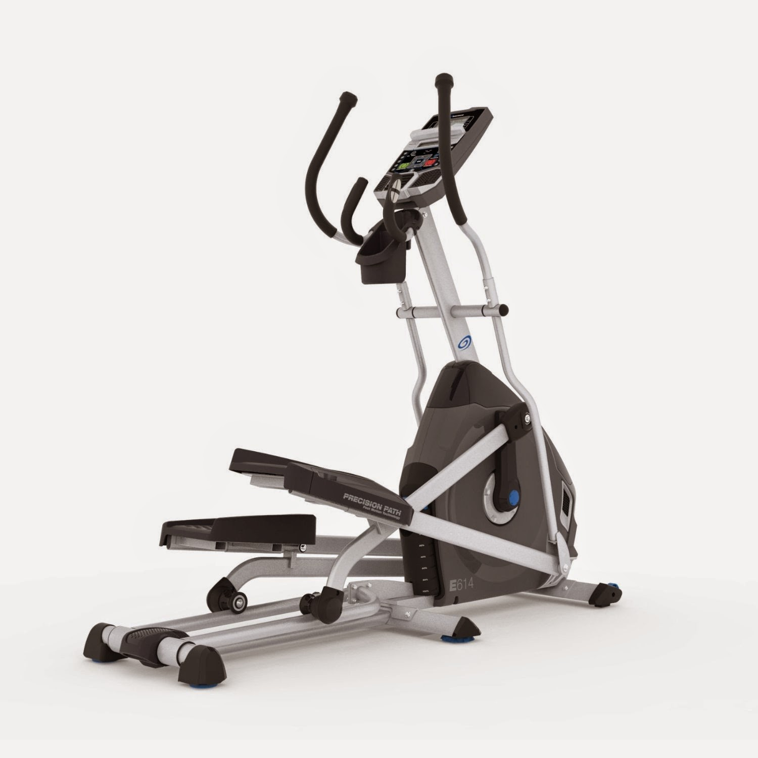 Nautilus E614 Elliptical Trainer, review features, 22 workout programs, 20 resistance levels, manual incline, dual track LCD display, acoustic chambered speakers, USB charging port and data export, compare with Nautilus E616