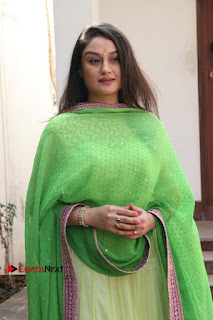 Actress Sonia Agarwal Stills in Green Anarkali Dress at Agalya Tamil Movie Launch  0012.jpg