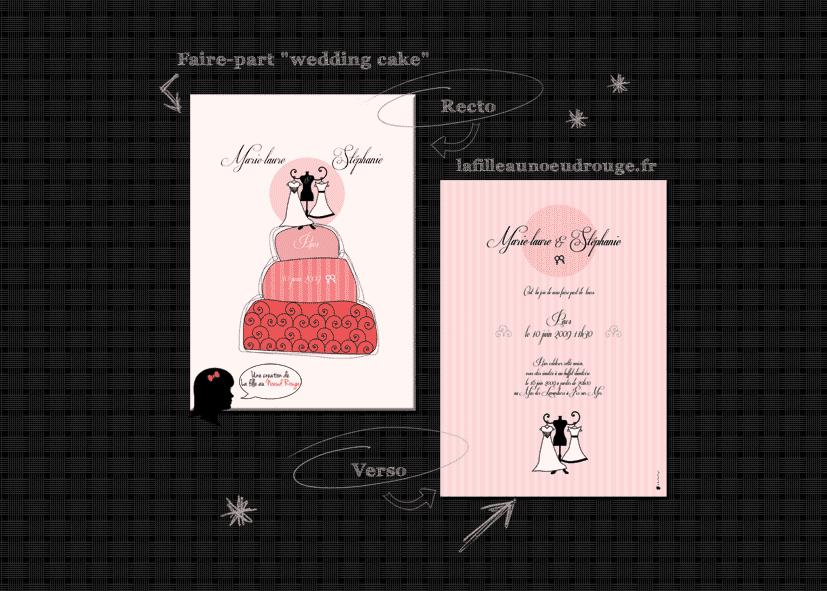 faire part de mariage pacs personnalis wedding cake. Black Bedroom Furniture Sets. Home Design Ideas