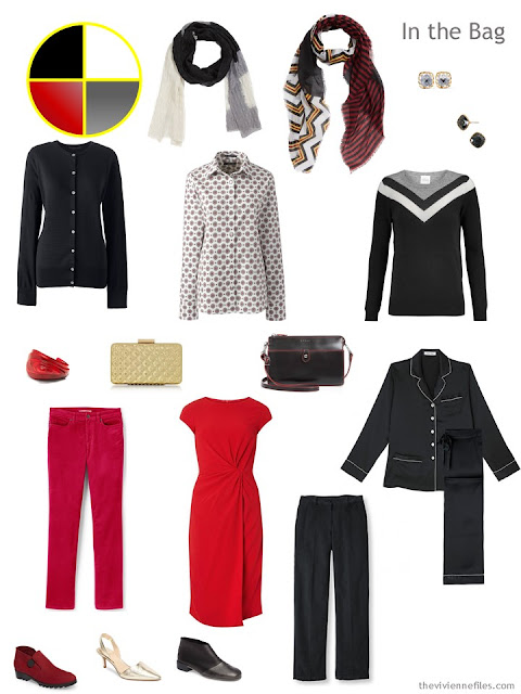 black, red and grey Six-Pack travel capsule wardrobe