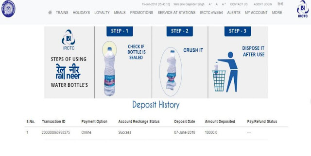 Picture of payment deposit transactions in ewallet