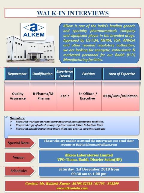 Alkem Laboratories Ltd Walk In Interview at 1 December