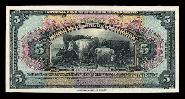 Nicaraguan currency 5 Cordobas banknote billete