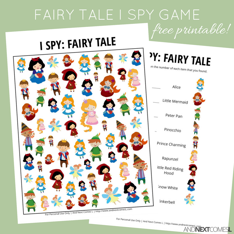 photograph regarding Printable Fairy Tales named Fairy Story Themed I Spy Video game Absolutely free Printable for Children And