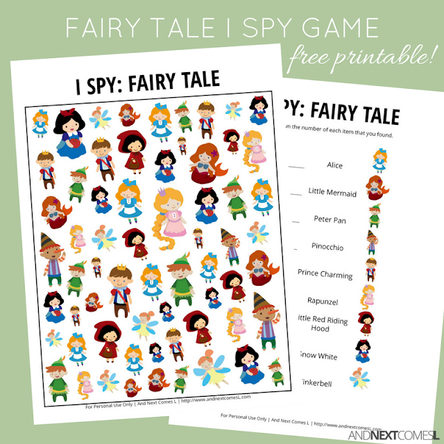 Free fairy tale themed I Spy game for kids from And Next Comes L