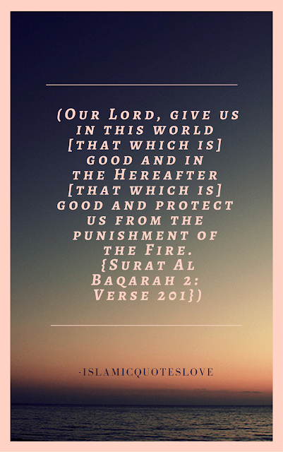 """Our Lord, give us in this world [that which is] good and in the Hereafter [that which is] good and protect us from the punishment of the Fire.""  -Qur'an [2:201]"