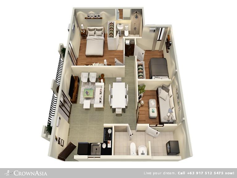 Floor Plan of Valenza Mansions - Three Bedroom Family Suite | Three Bedroom Family Suite Condominium Unit for Sale Sta. Rosa Laguna