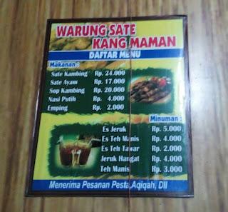 Daftar Harga Warung Sate Kang Maman Depan Detta Marina
