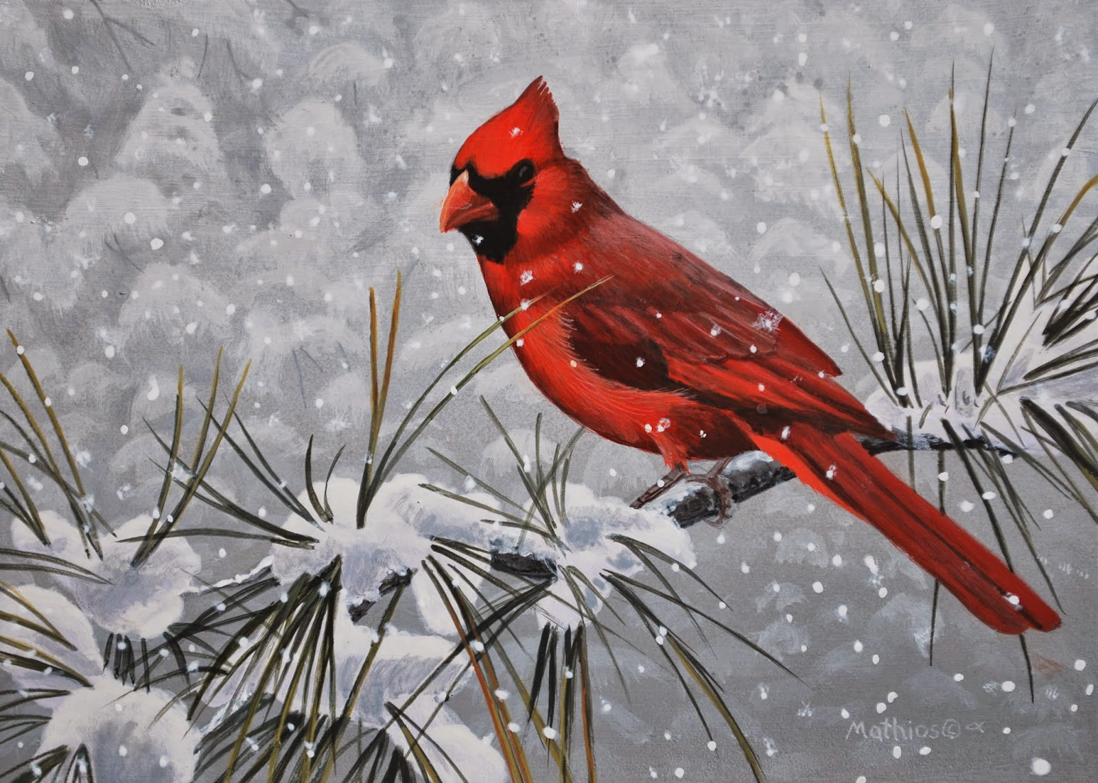 Daily paintings by peter mathios september 2013 - Pictures of cardinals in snow ...