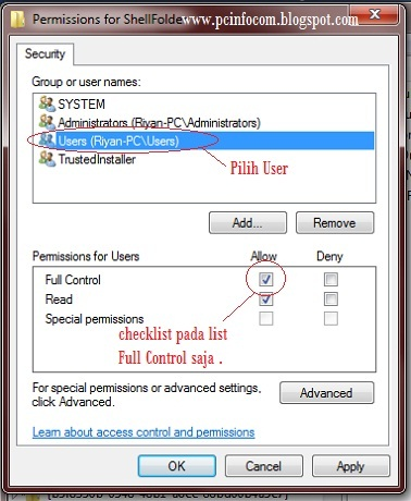 permissions for users