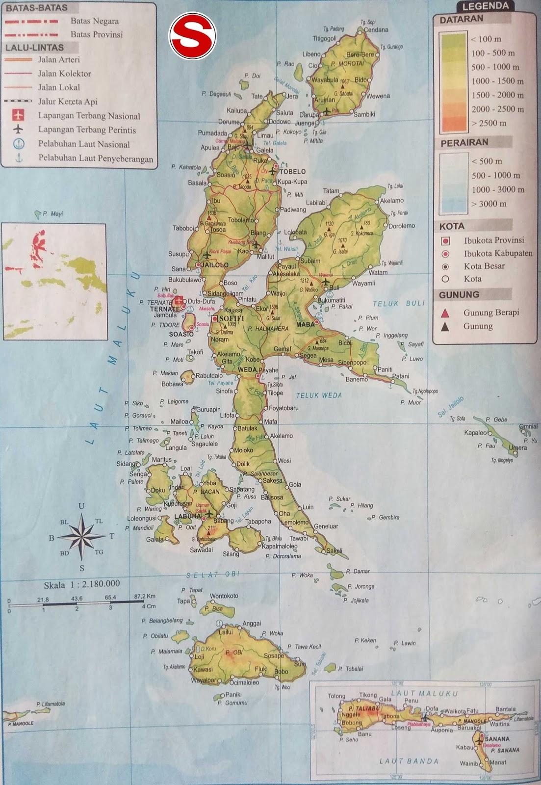 Peta Atlas Provinsi Maluku Utara di bawah ini mencakup peta dataran Peta Atlas Provinsi Maluku Utara