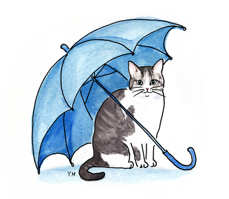 Cat and an umbrella by Yukié Matsushita