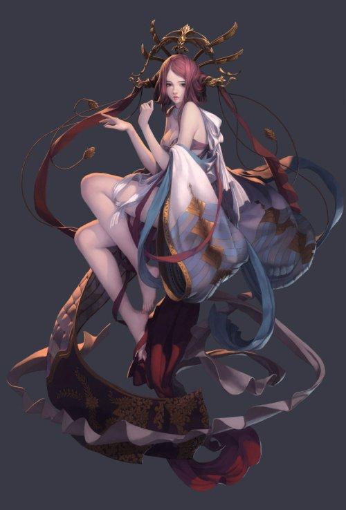 Liu Yuan artstation ilustrações fantasia mulheres games art déco shoujo steampunk arte