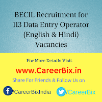 BECIL Recruitment for 113 Data Entry Operator (English & Hindi) Vacancies