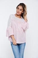 Bluza dama LaDonna roz deschis cu dungi casual din bumbac cu maneci clopot