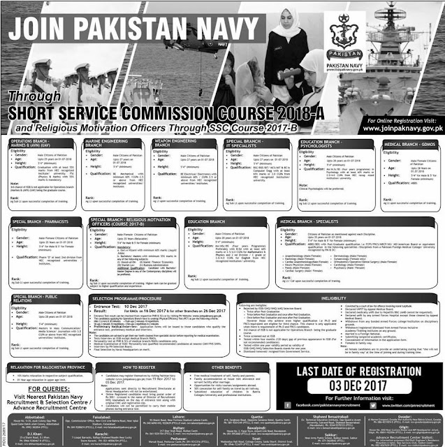 Short Service Commission 2018-A In Pakistan Navy