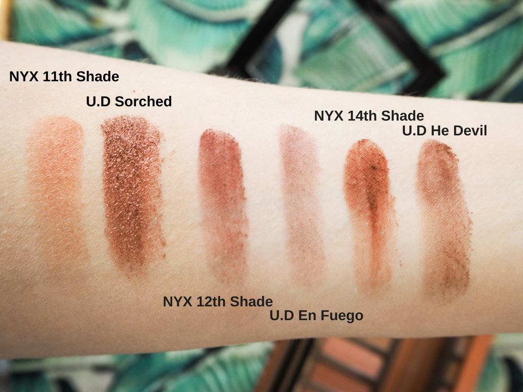 Swatches of the Urban Decay Heat eyeshadows and NYX Ultimate Neutrals Palette on pale skin.