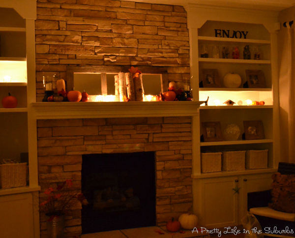 Birch Tree & Pumpkin Fall Mantel