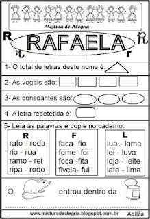 Brincando com o nome Rafaela