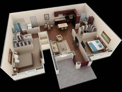 Open 3D floor plans for two bedroom apartment