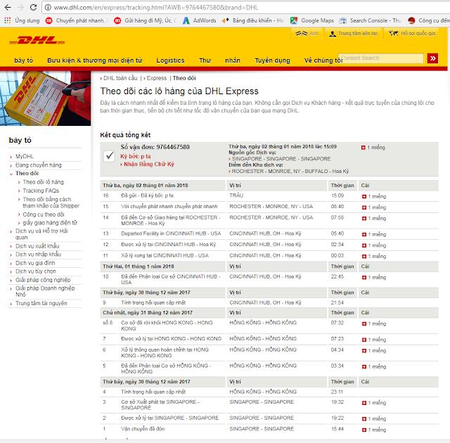 Theo dõi kiểm tra đơn hàng online trên website của hãng DHL