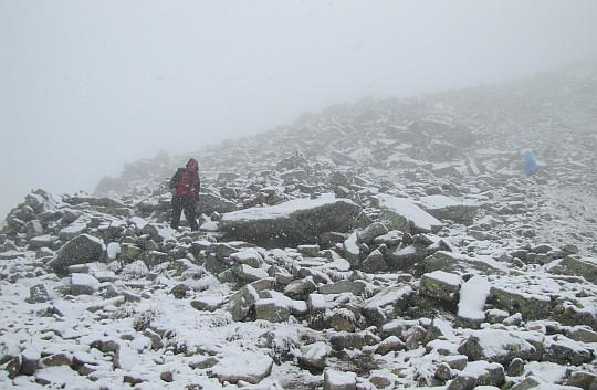 Zejście z Rysów odcinek między Kopą nad Wagą a przełęczą Waga.