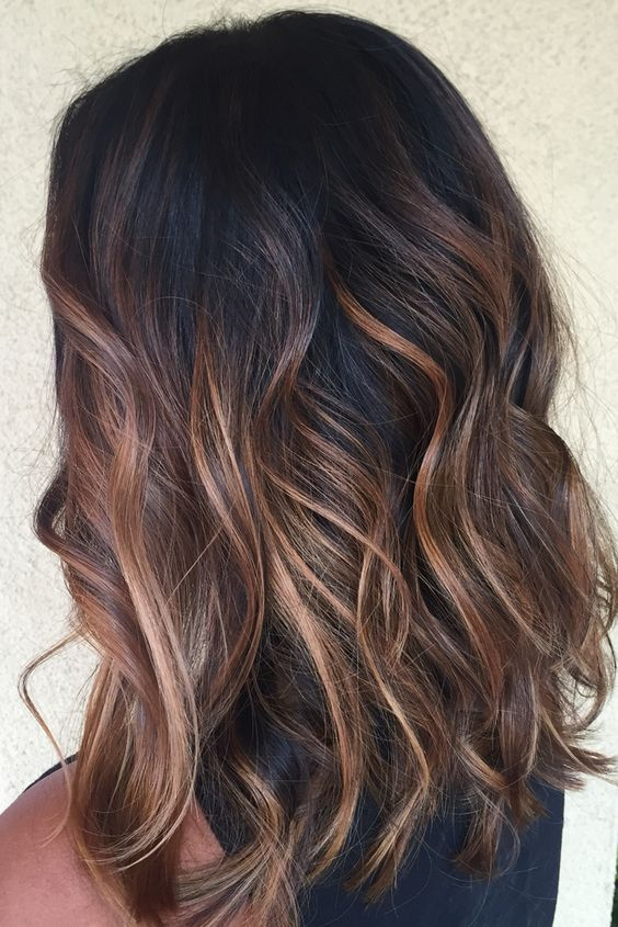 04 beachy waves on black hair with caramel balayage