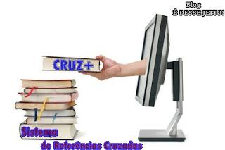 """Imagens de uma mão entregando Livros através de um computador, anunciando o início do Sistema de Referências Cruzadas """"CRUZ+"""""""