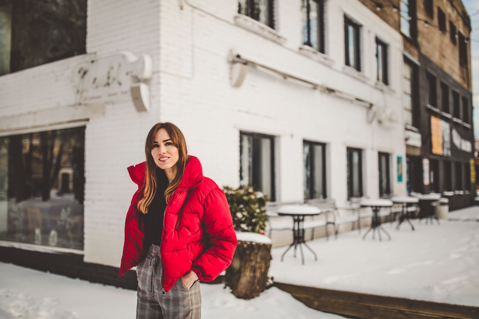 red puffer jacket street style