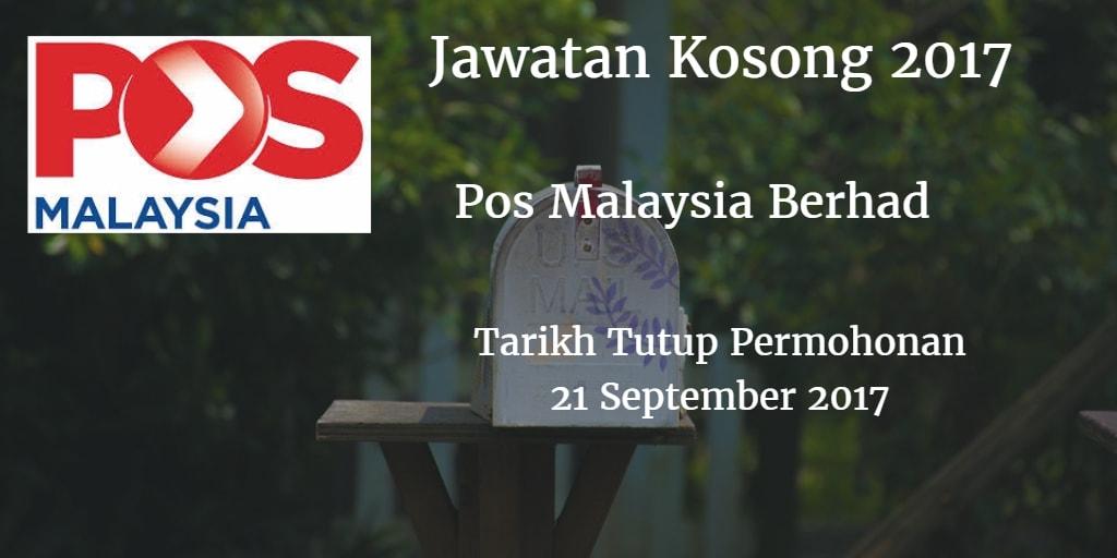 Jawatan Kosong Pos Malaysia Berhad 21 September 2017