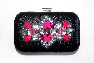 Bolso fiesta negro brillante y rosa fucsia