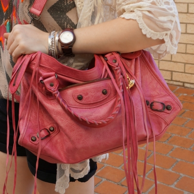 bracelet stack with jord wood watch and Balenciaga sorbet pink city bag with split tassels | away from the blue