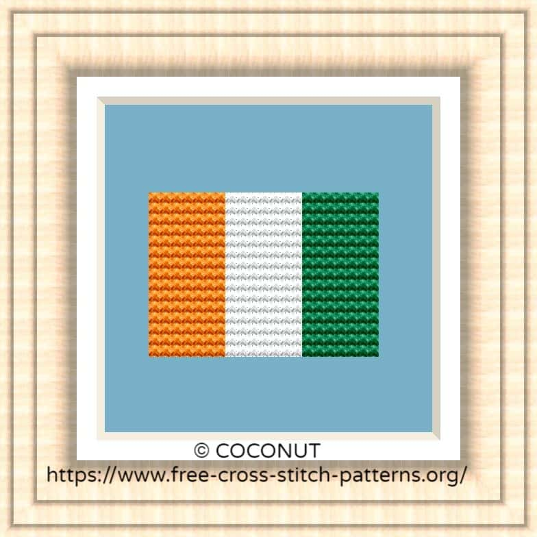 NATIONAL FLAG OF COTE D'IVOIRE CROSS STITCH CHART