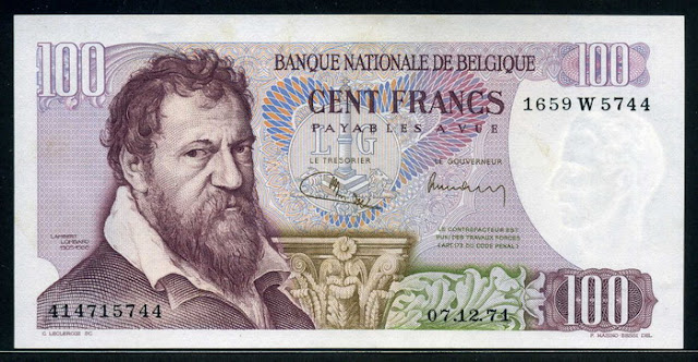 World Currencies Belgium 100 Belgian francs banknotes notes